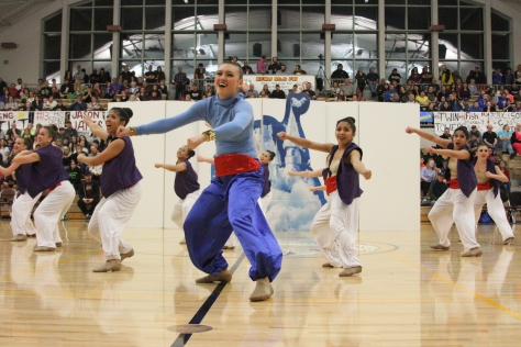 The K-Highlights perform at halftime of the girls championship game Saturday.