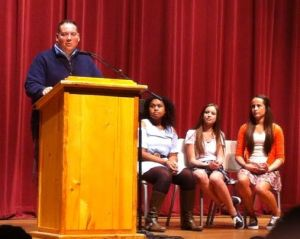 Kayhi Principal Mr. Marshall addresses the freshman class  Sept. 9 during freshman elections.